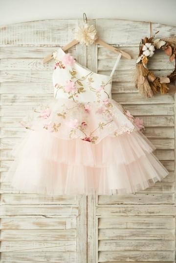 Princessly.com-K1003379 One Shoulder Floral Organza Pink Tulle Cupcake Wedding Flower Girl Dress-20