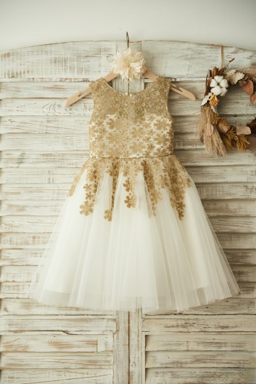 Princessly.com-K1003376-Gold Lace Ivory Tulle Wedding Flower Girl Dress-20