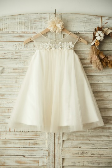 Princessly.com-K1003374-Sheer Neck ChampagneTulle Lace Wedding Flower Girl Dress with Pearls-20