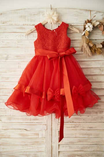 Princessly.com-K1003368 Red Lace Organza Wedding Flower Girl Dress with Belt-20