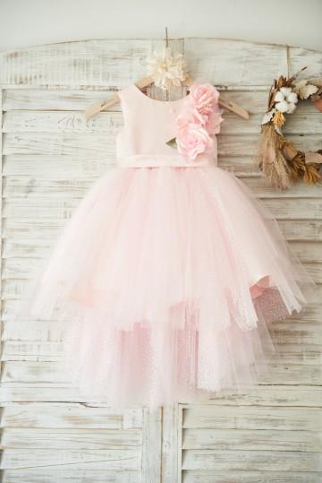 Princessly.com-K1003501-Hi-low Pink Dot Tulle Wedding Flower Girl Dress with 3D Flowers-20