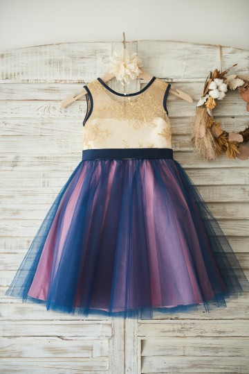 Princessly.com-K1003502-Gold Lace Navy Blue Tulle Wedding Flower Girl Dress with Bow-20