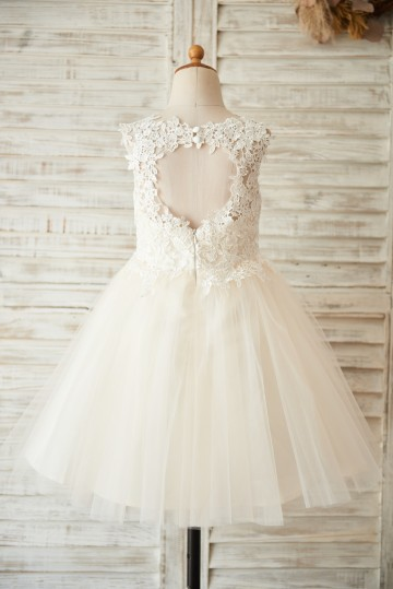 Princessly.com-K1003504-Ivory Lace Champagne Tulle Wedding Flower Girl Dress with Keyhole Back-20