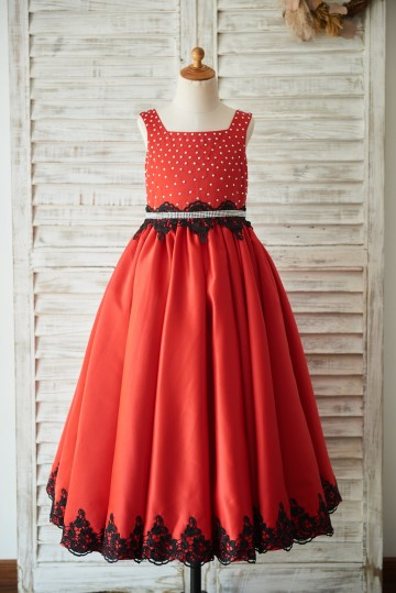 Princessly.com-K1003507-Red Satin Square Neck Wedding Party Flower Girl Dress with Beads/Black Lace Trim-20