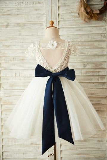 Princessly.com-K1003658-Short Sleeves V Back Lace Tulle Wedding Flower Girl Dress with Navy Blue Belt-20