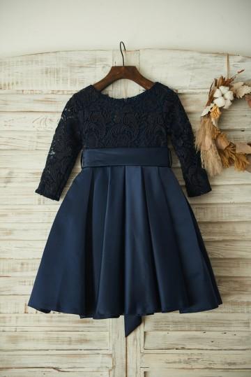Princessly.com-K1003352 Long Sleeves Navy Blue Lace Satin Wedding Flower Girl Dress with Belt-20