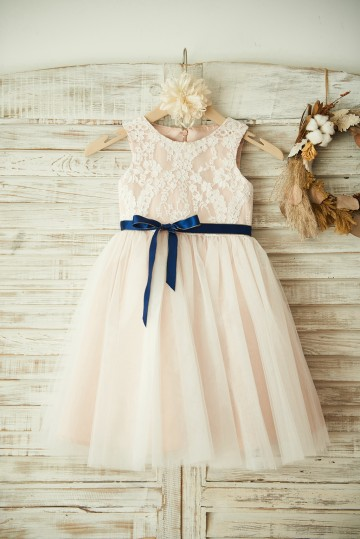Princessly.com-K1003354-Ivory Lace Tulle Pink Lining Wedding Flower Girl Dress with Navy Blue Sash-20