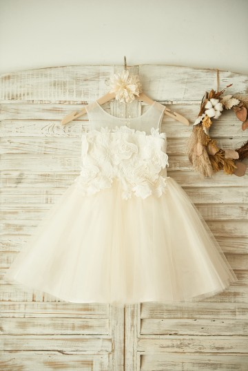 Princessly.com-K1003356 Sheer Neck Ivory Lace Champagne Tulle Wedding Flower Girl Dress-20