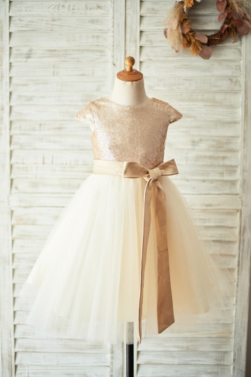 Princessly.com-K1003924-Champagne Sequin Tulle Flower Girl Dress with Cap Sleeves-20