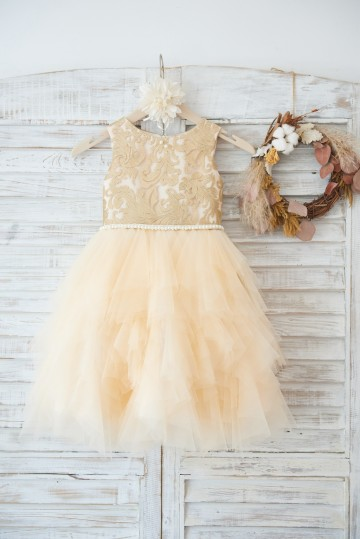 Princessly.com-K1003626-Gold Lace Champagne Ruffle Tulle Wedding Flower Girl Dress with Pearl Belt-20