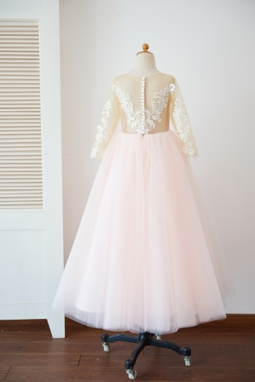 Princessly.com-K1003628-Long Sleeves Ivory Lace Pink Tulle Sheer Back Wedding TUTU Flower Girl Dress-20