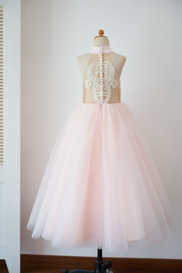 Princessly.com-K1003629-Halter Neckline Ivory Lace Pink Tulle Sheer Back Wedding Flower Girl Dress-20