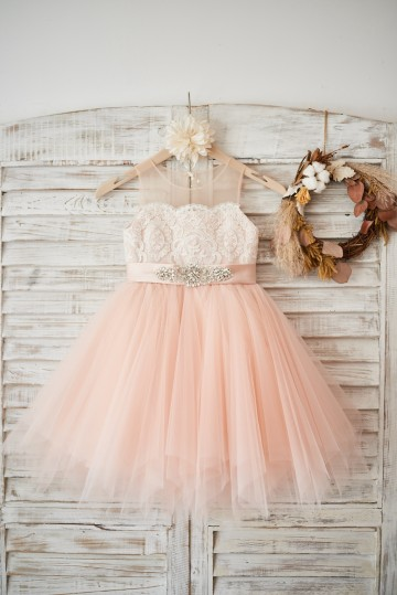 Princessly.com-K1003576-Sheer Neck Peach Pink Tulle Ivory Lace Wedding Flower Girl Dress with beaded sash-20
