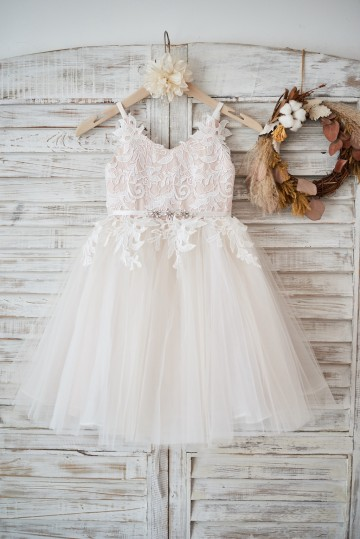Princessly.com-K1003578-Ivory lace Tulle Spaghetti straps Wedding Flower Girl Dress with Beaded Belt-20