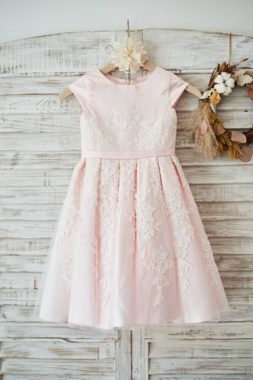 Princessly.com-K1003588-Pink Satin Ivory Tulle Lace Cap Sleeves Wedding Flower Girl Dress with Belt-20
