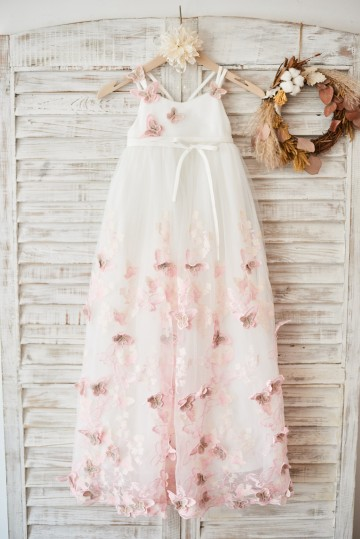 Princessly.com-K1003590-Ivory Tulle Spaghetti Straps Wedding Party Flower Girl Dress with 3D butterflies-20