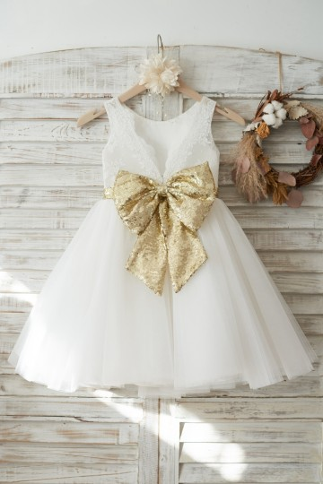 Princessly.com-K1003719-Ivory Lace Tulle V Back Wedding Flower Girl Dress with Gold Sequin Bow-20