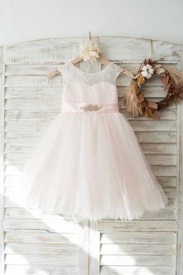 Princessly.com-K1003725 Ivory Lace Pink Tulle Slit Back Wedding Flower Girl Dress with Beaded Belt-20