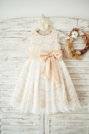 Princessly.com-K1003555-Champagne Satin Ivory Lace Cap Sleeves Wedding Flower Girl Dress with Bow Belt-20