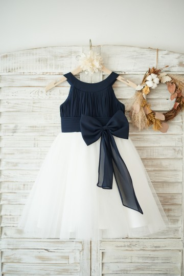 Princessly.com-K1003550-Navy Blue Chiffon Ivory Tulle Halter Neck Wedding Flower Girl Dress with Bow-20