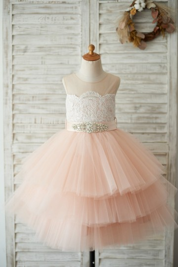 Princessly.com-K1003530-Sheer Neck Peach Pink Tulle Lace Cupcake Skirt Wedding Flower Girl Dress with beaded sash-20