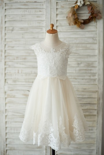 Princessly.com-K1003535-Ivory Lace Champagne tulle Cap Sleeves Wedding Flower Girl Dress with Beading-20