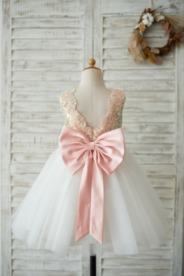 Princessly.com-K1003540-Gold Sequin Ivory Tulle V Back Wedding Flower Girl Dress with Pink Lace belt-20