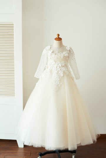 Princessly.com-K1003654-Champagne Tulle Long Sleeves Wedding Party Flower Girl Dress with 3D Flowers/Beads-20