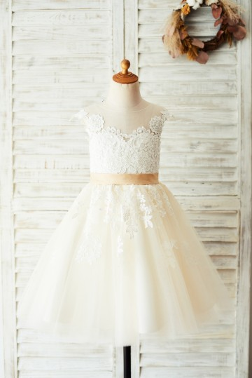 Princessly.com-K1003642-Ivory Lace Champagne Tulle Wedding Party Flower Girl Dress with V Back-20