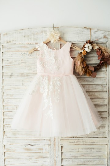 Princessly.com-K1003644-Ivory Lace Tulle Pink Satin Wedding Flower Girl Dress Junior Bridesmaid Dress-20