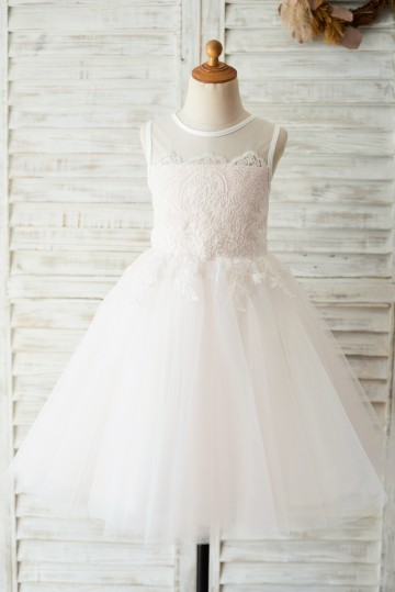 Princessly.com-K1003646-Ivory Lace Pink Tulle Wedding Flower Girl Dress with Keyhole Back-20