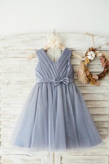 Princessly.com-K1003647-Gray Satin Tulle V Neckline Wedding Flower Girl Dress with Belt-20