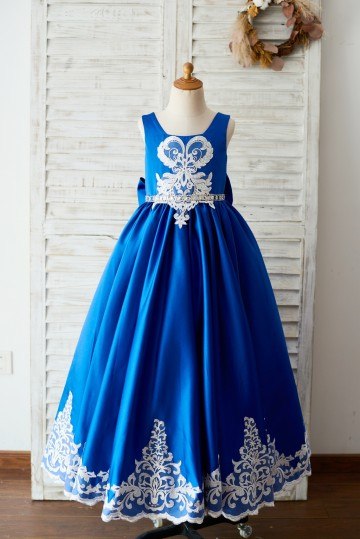 Princessly.com-K1003651-Royal Blue Satin Square Neck Wedding Party Flower Girl Dress with Lace Trim-20