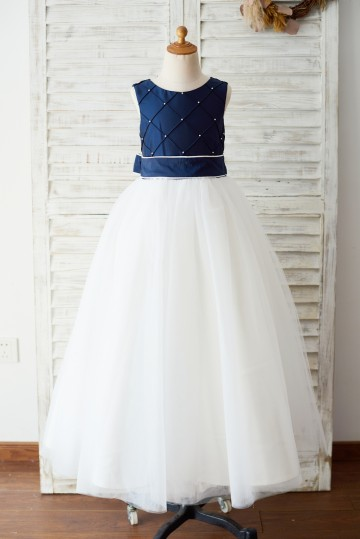 Princessly.com-K1003653-Navy Blue Taffeta Ivory Tulle Wedding Party Flower Girl Dress with Pearls-20