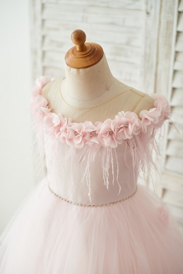 Princessly.com-K1003681-Off Shoulder Pink Tulle Feathers Wedding Party Flower Girl Dress-20