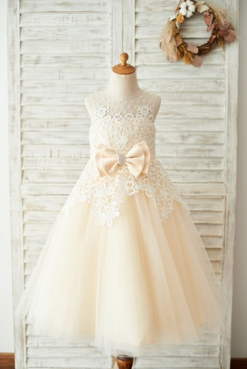 Princessly.com-K1003674 Ivory Lace Champagne Tulle Wedding Party Flower Girl Dress with Pearls-20