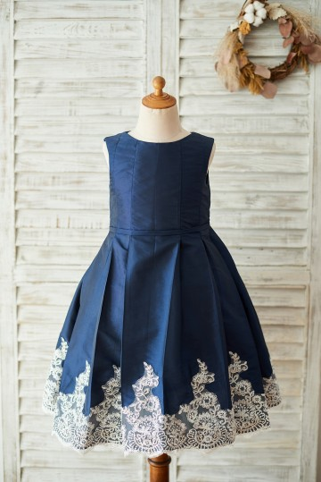 Princessly.com-K1003677-Navy Blue Taffeta Silver Lace Wedding Flower Girl Dress-20