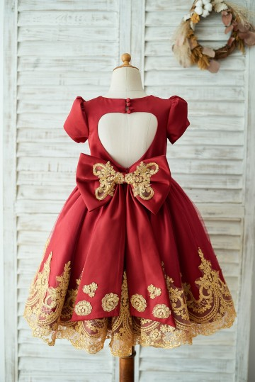 Princessly.com-K1003673-Red Satin Gold Lace Short Sleeves Keyhole Back Wedding Flower Girl Dress with Bow-20