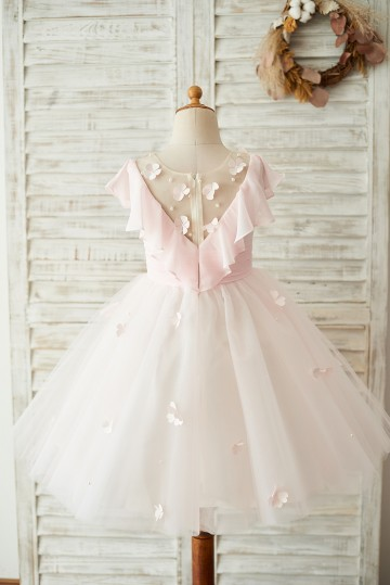 Princessly.com-K1003675-Pink Chiffon Tulle Sheer Neck Wedding Flower Girl Dress-20