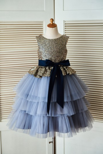 Princessly.com-K1003303-Gold Sequin Blue Cupcake Tulle Wedding Flower Girl Dress with Navy Blue Belt-20