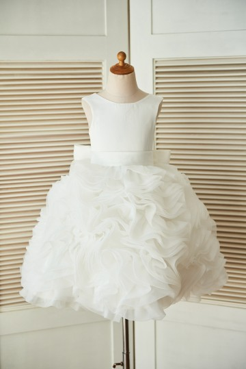 Princessly.com-K1003306-V back Ivory Satin Organza Ball Gown Wedding Flower Girl Dress-20