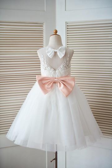 Princessly.com-K1003296-Ivory Lace Tulle Keyhole Back Wedding Flower Girl Dress with Blush Pink Bow-20