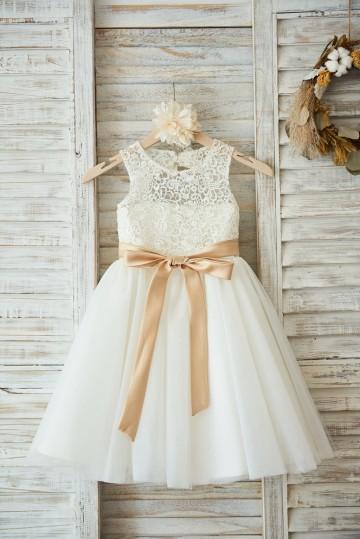 Princessly.com-K1003593-Ivory Lace Tulle Wedding Flower Girl Dress with Keyhole Back/Champagne Belt-20