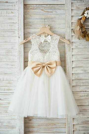 Princessly.com-K1003594-Ivory Lace Tulle Wedding Flower Girl Dress with Keyhole Back/Champagne Bow Belt-20