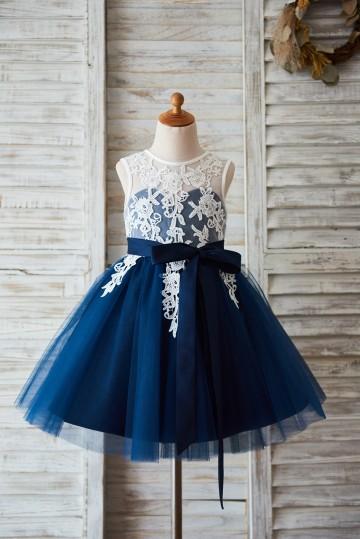 Princessly.com-K1003596-Ivory Lace Navy Blue Tulle Wedding Flower Girl Dress with V Back-20