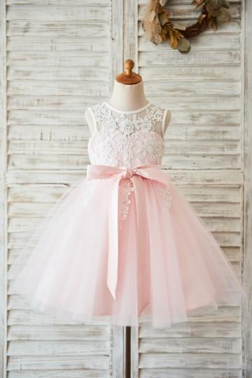 Princessly.com-K1003597-Ivory Lace Pink Tulle Wedding Flower Girl Dress with V Back-20