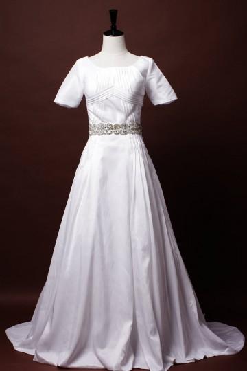 Modest A-line Short Sleeves Scoop Neck Beaded Belt Waist Pleated Court Taffeta Wedding Dress