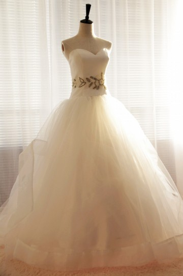 Princessly.com-K1000017-Strapless Sweetheart Tulle Ball Gown Wedding Dress with Beaded Waist-20