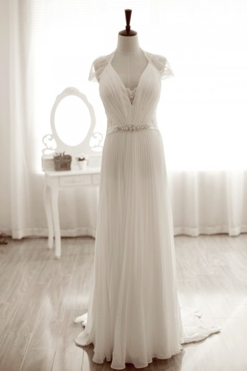 Pleated Column Wedding Dress w/ Full Lace Back, Tulip Cap Sleeves & Court Train