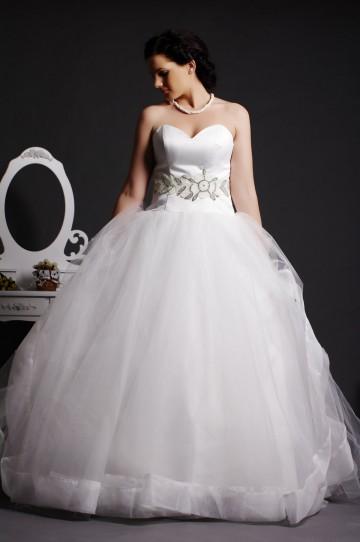 Strapless Sweetheart Beading Layered Tulle Ball Gown Organza Hem Court Satin Wedding Dress